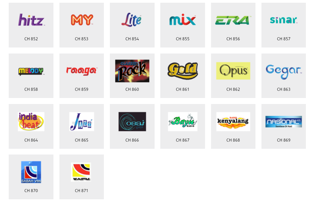 Astro NJOI Radio Channels